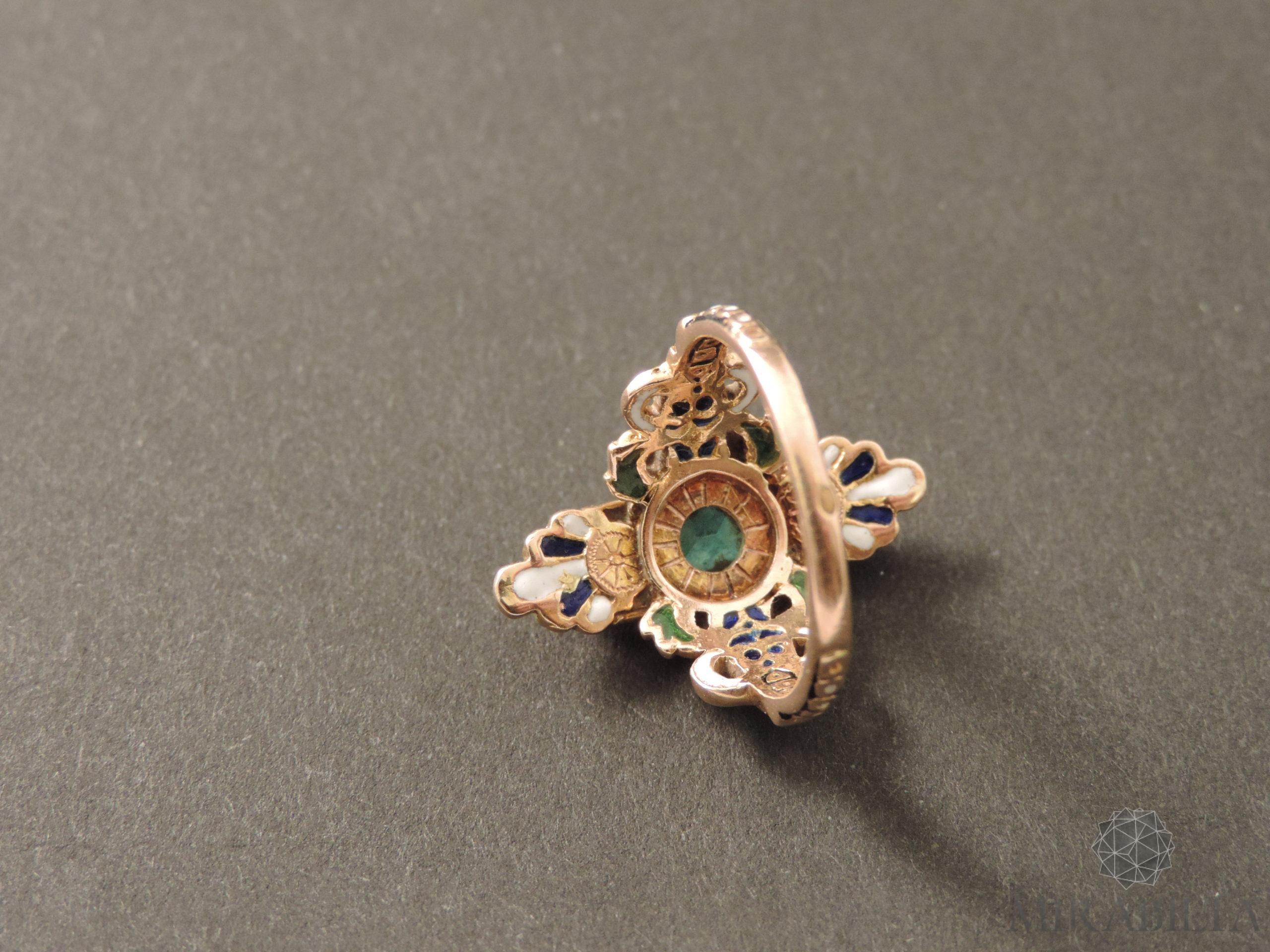 Anello Smeraldo Neorinascimentale (retro dettaglio)