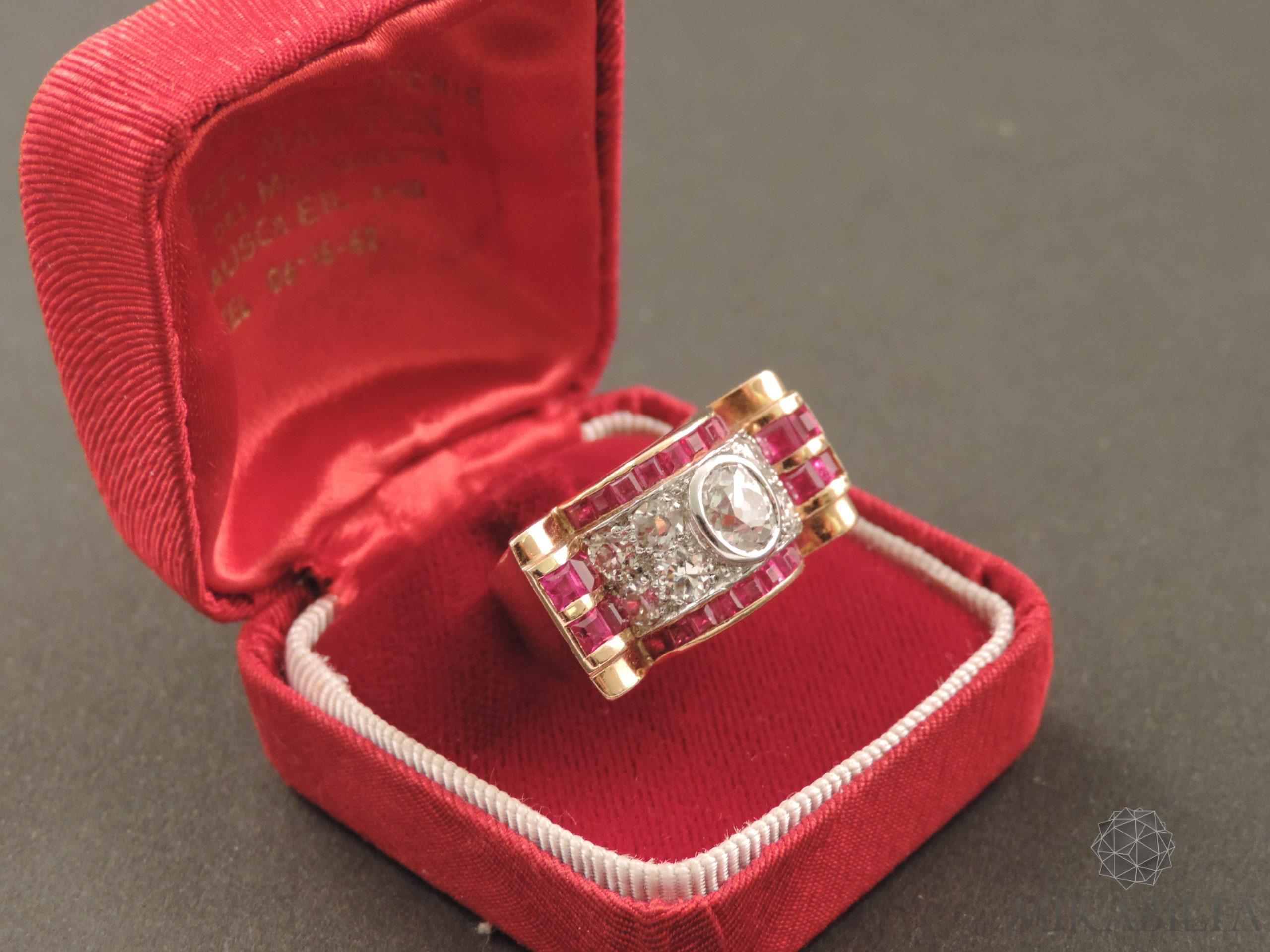 Anello oro diamanti rubini art déco