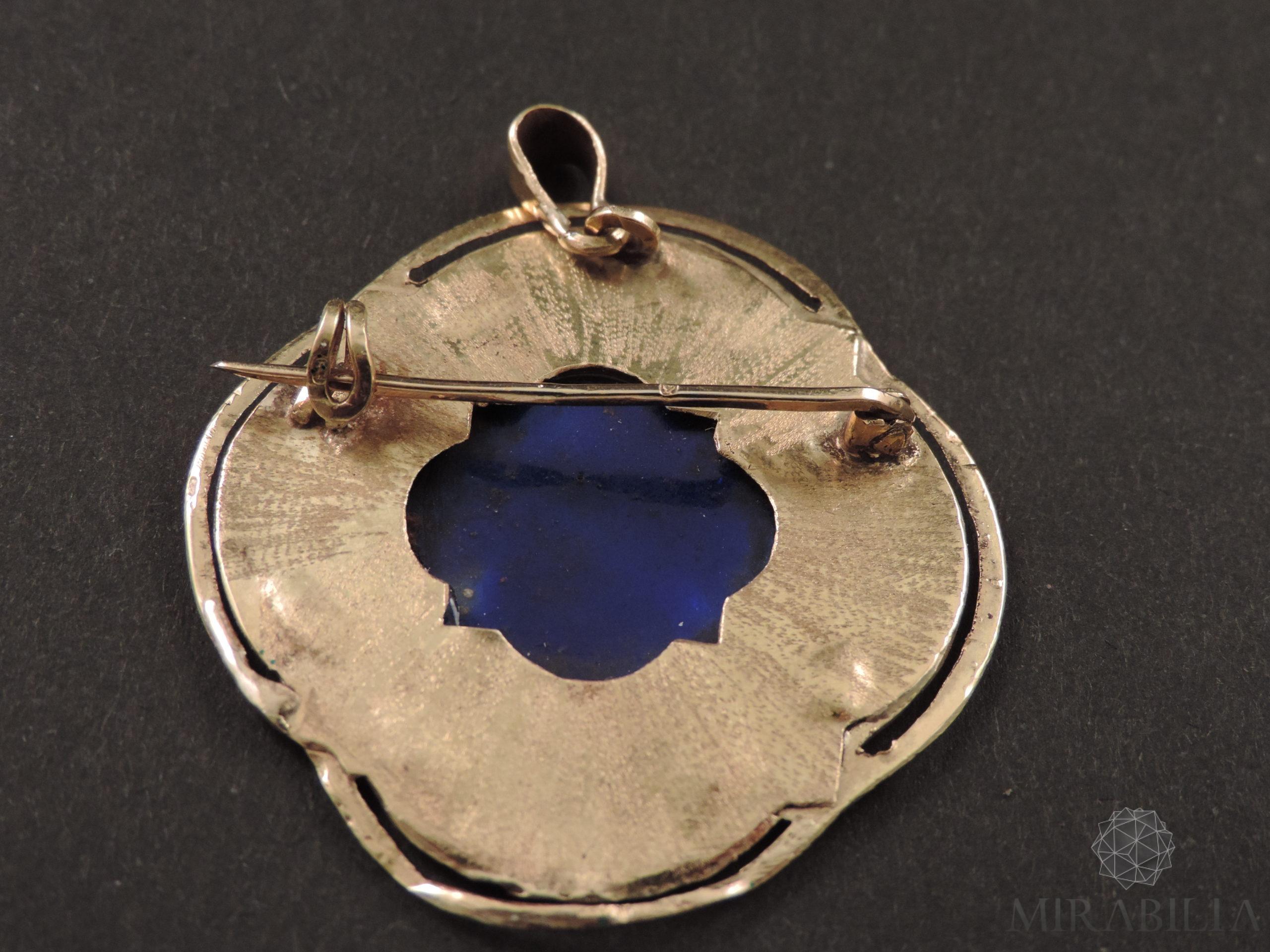 """Ciondolo-spilla """"Marianna di Francia"""" in oro, pietre preziose e smalti (retro)"""