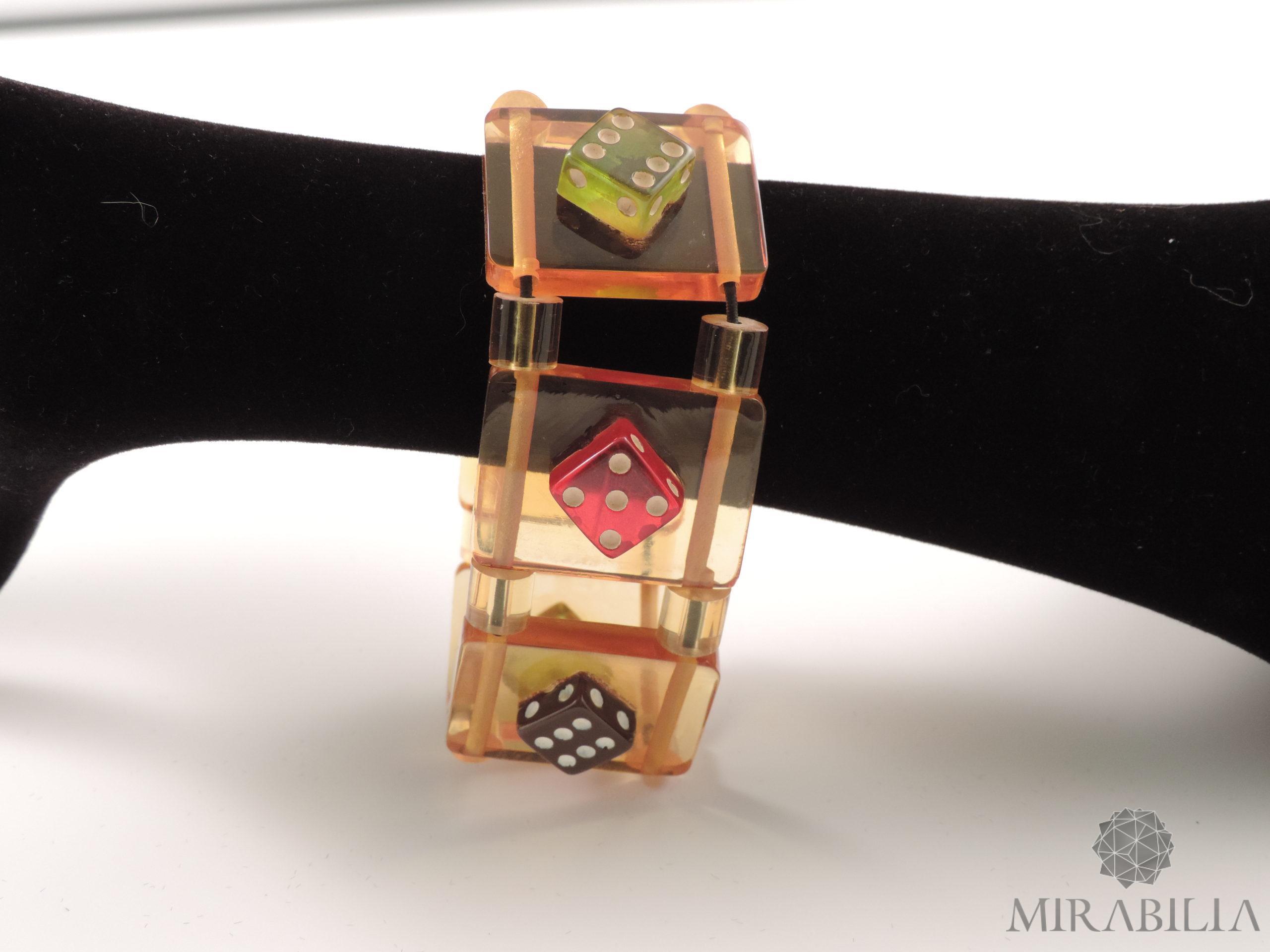 Bracciale elasticizzato Dadi anni '50 (Dettaglio dadi nero, rosa e verde)