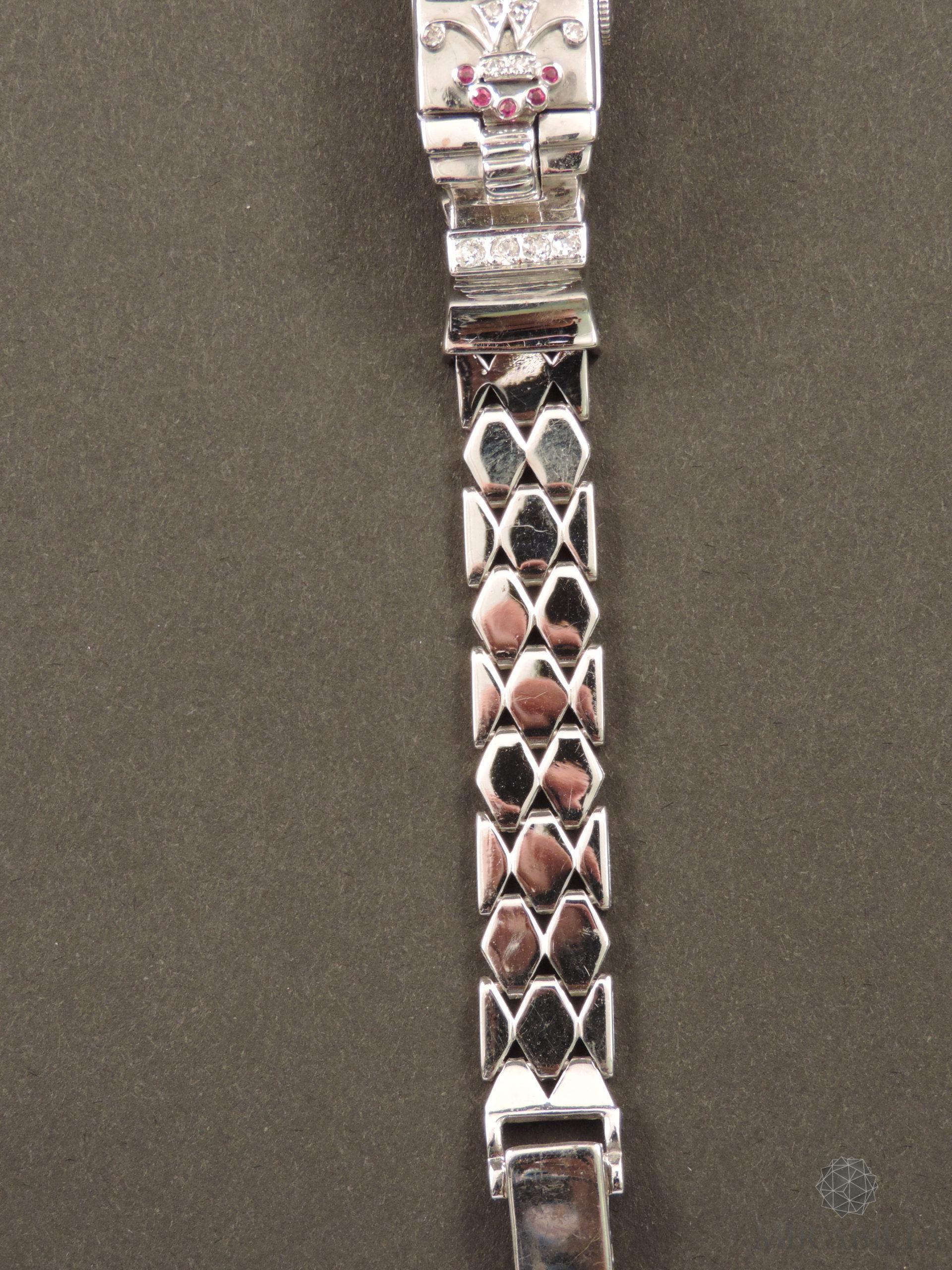 Orologio gioiello Lo Ros in oro bianco, rubini e diamanti Art Déco (Cinturino Dettaglio)