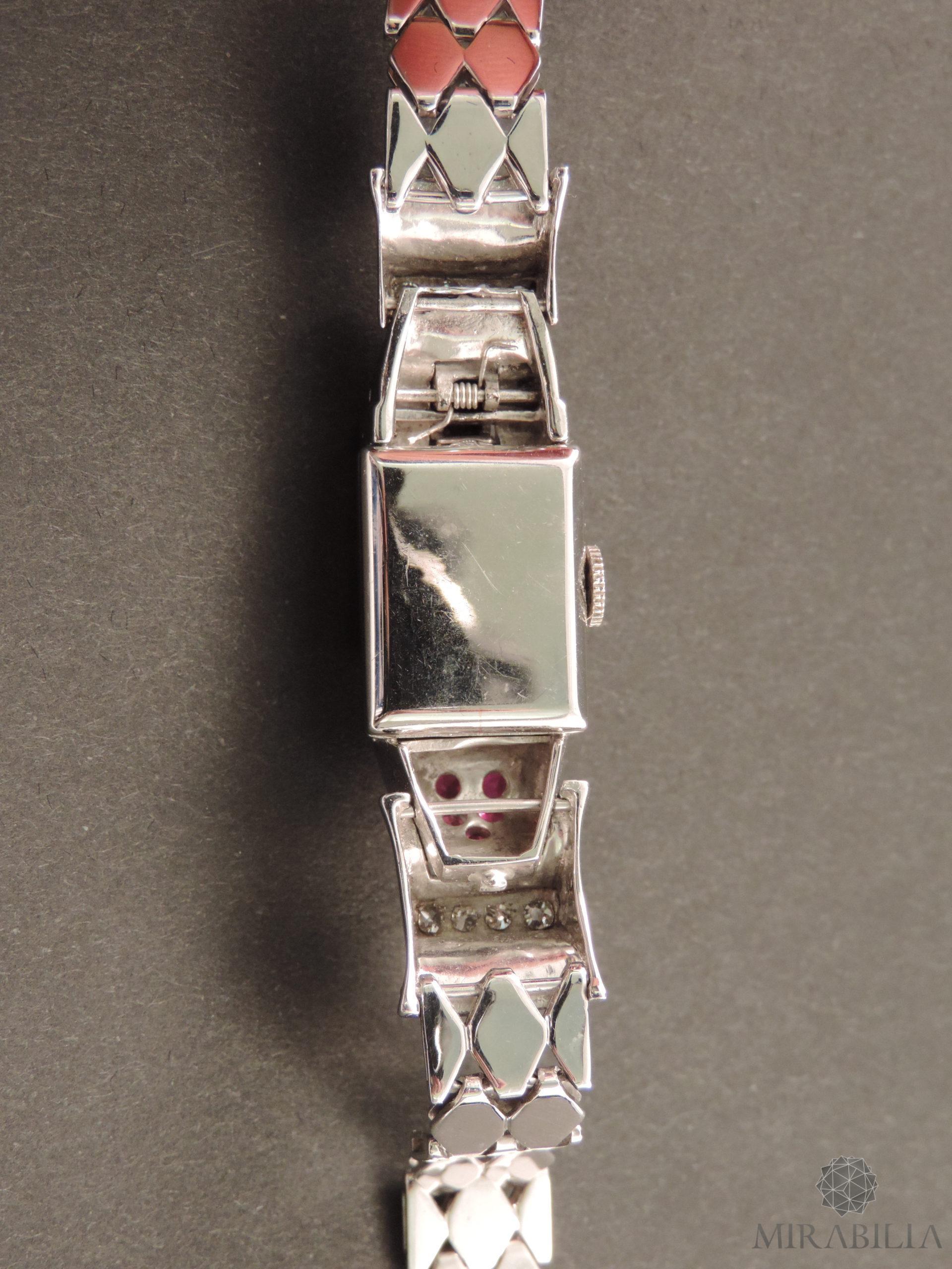 Orologio gioiello Lo Ros in oro bianco, rubini e diamanti Art Déco (Retro Dettaglio)
