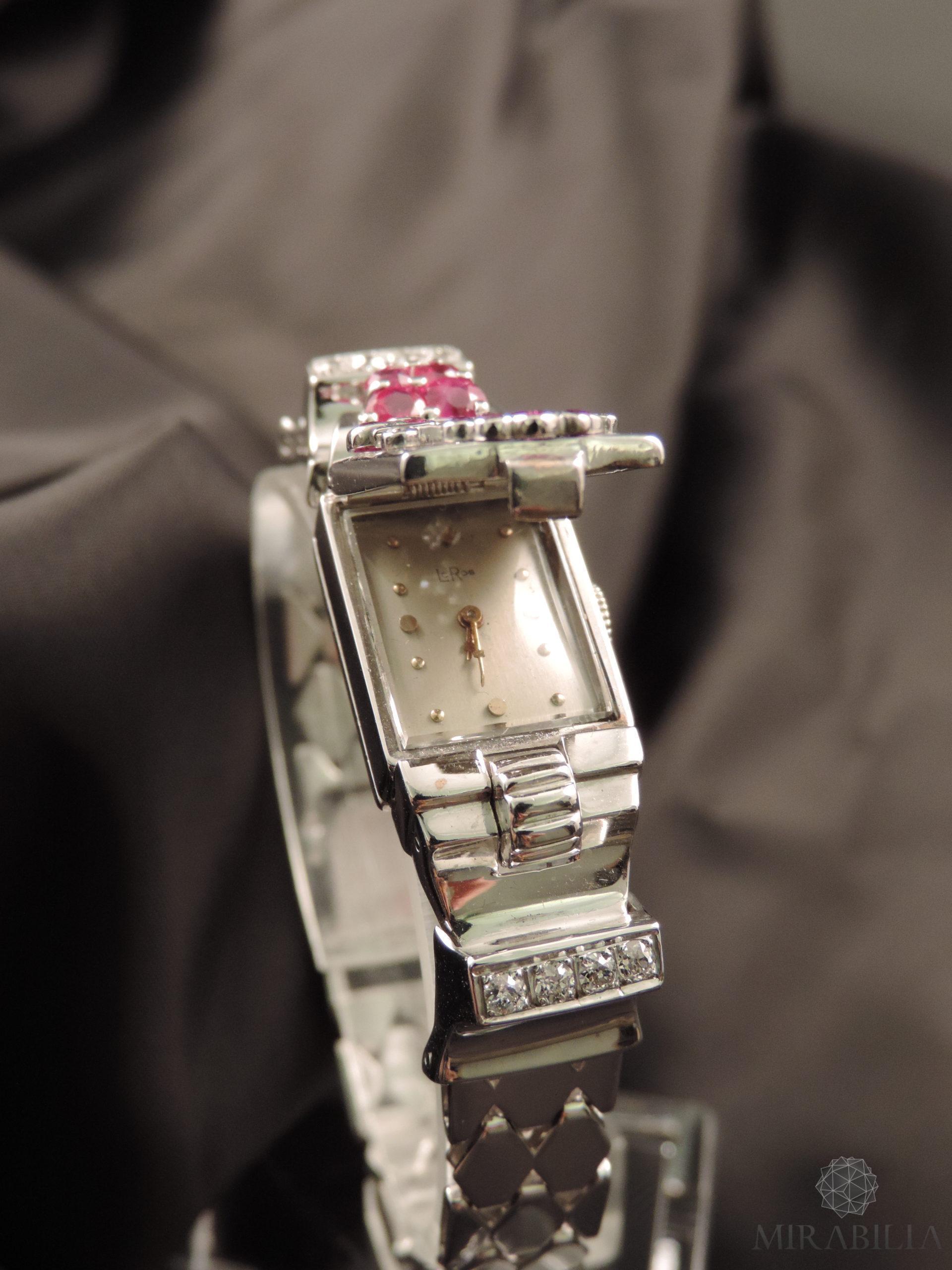 Orologio gioiello Lo Ros in oro bianco, rubini e diamanti Art Déco (Quadrante Aperto )