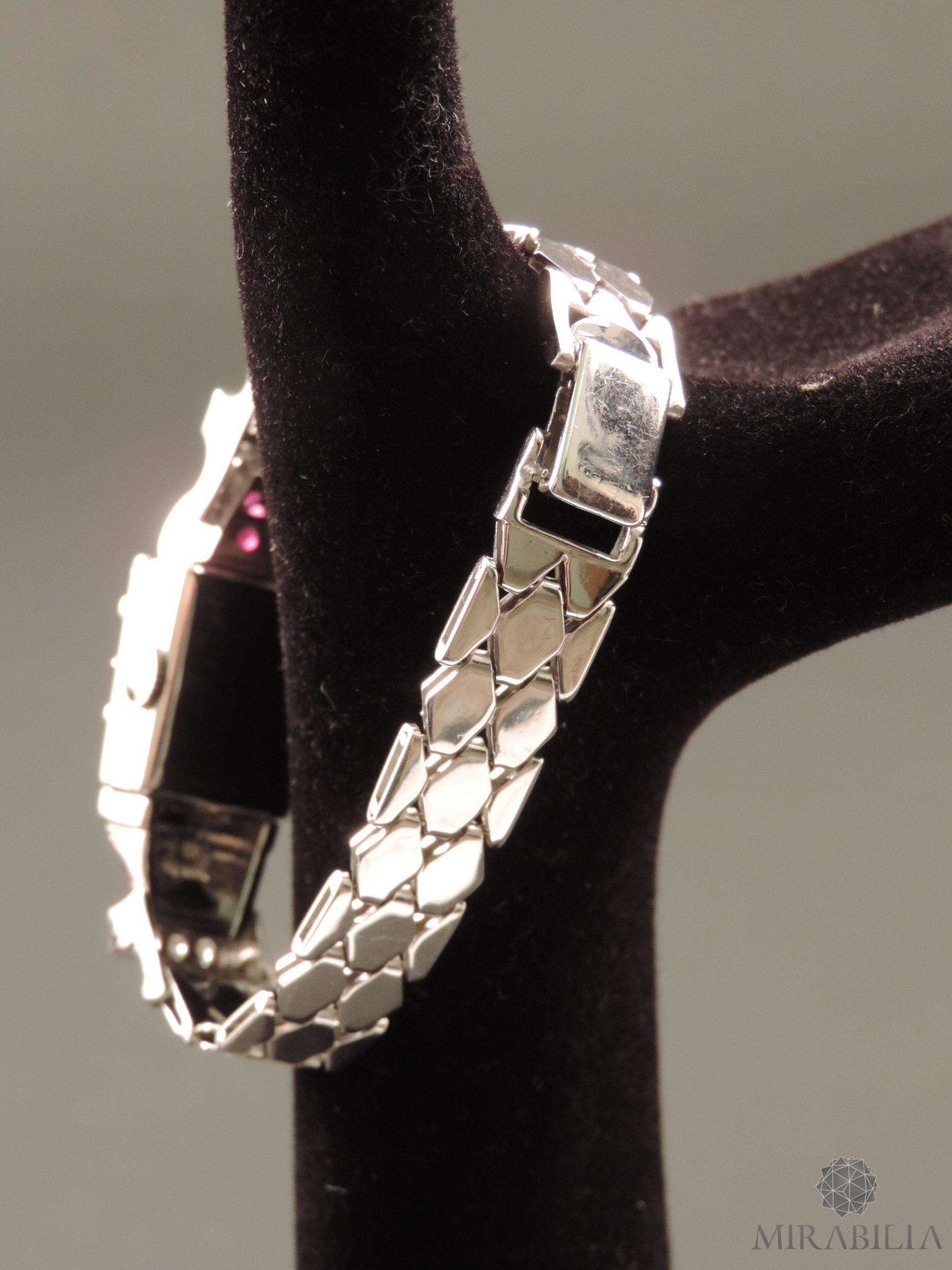 Orologio gioiello Lo Ros in oro bianco, rubini e diamanti Art Déco (Cinturino Retro)