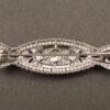 Spilla Art Déco in platino, diamanti e perle naturali (retro)