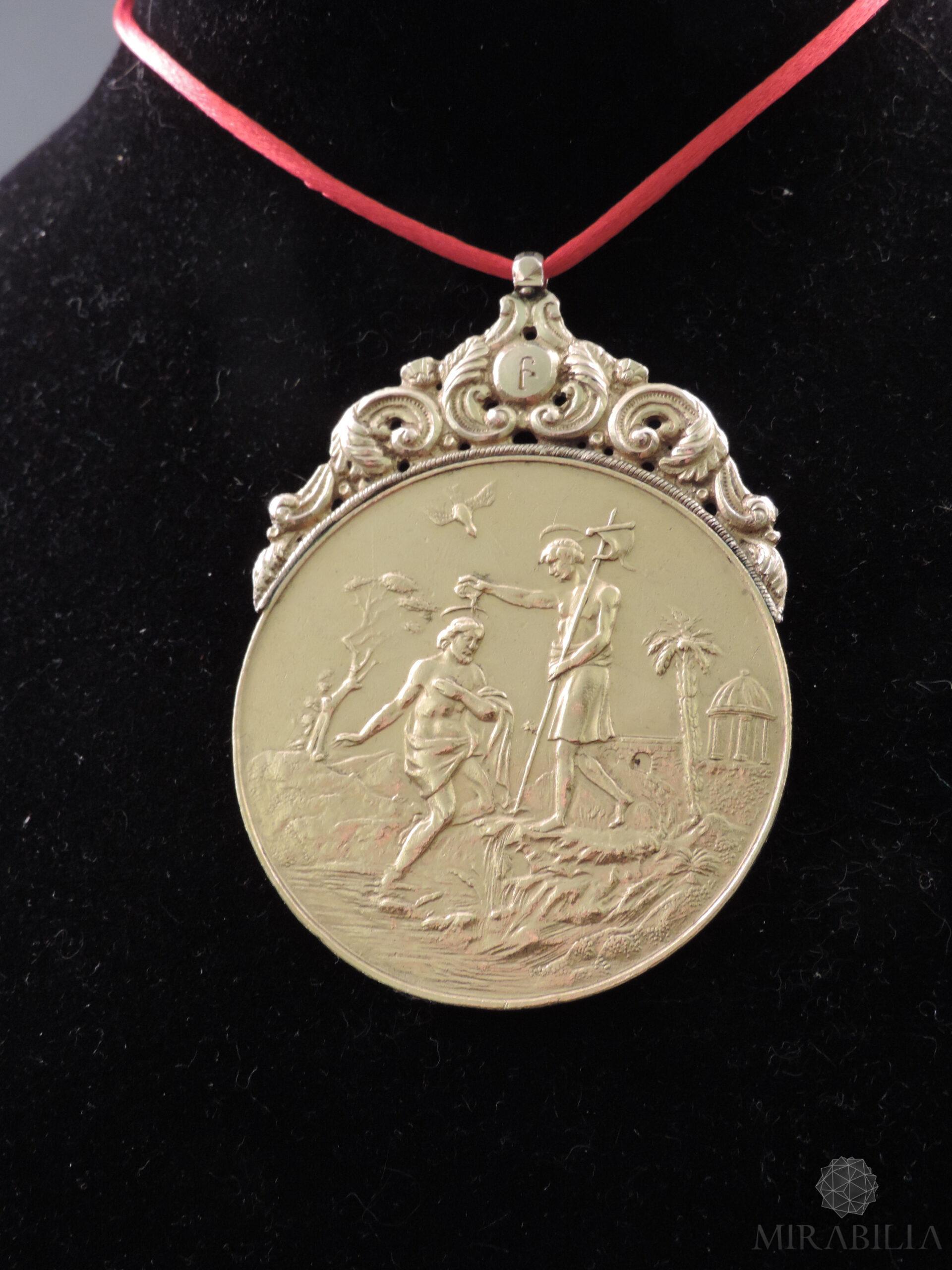 Medaglia russa in oro con tema religioso (fronte)