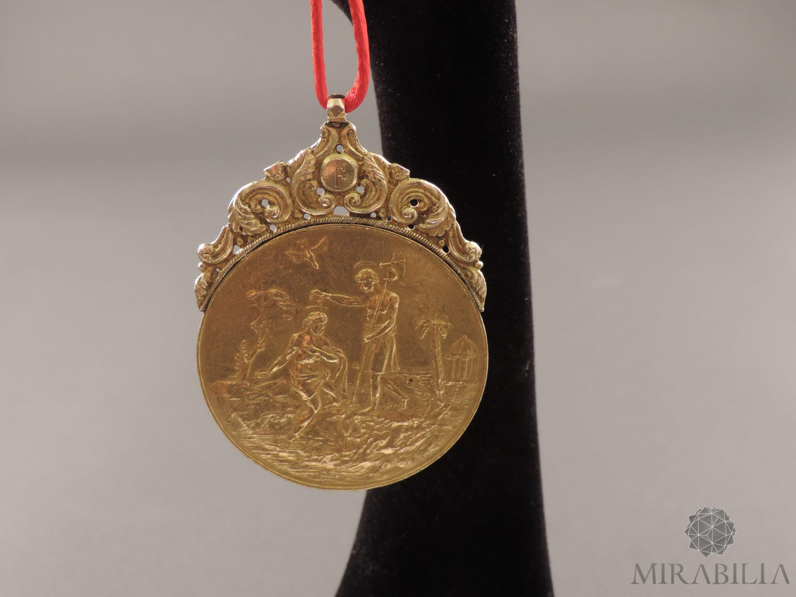 Medaglia russa in oro con tema religioso, seconda metà '700 (fronte)