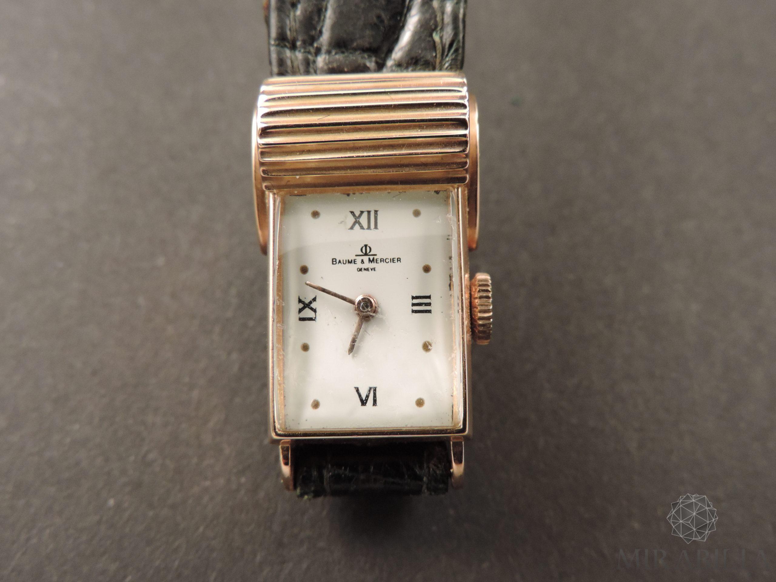 Orologio Baume & Mercier oro Art Déco (dettaglio fronte quadrante in smalto bianco)