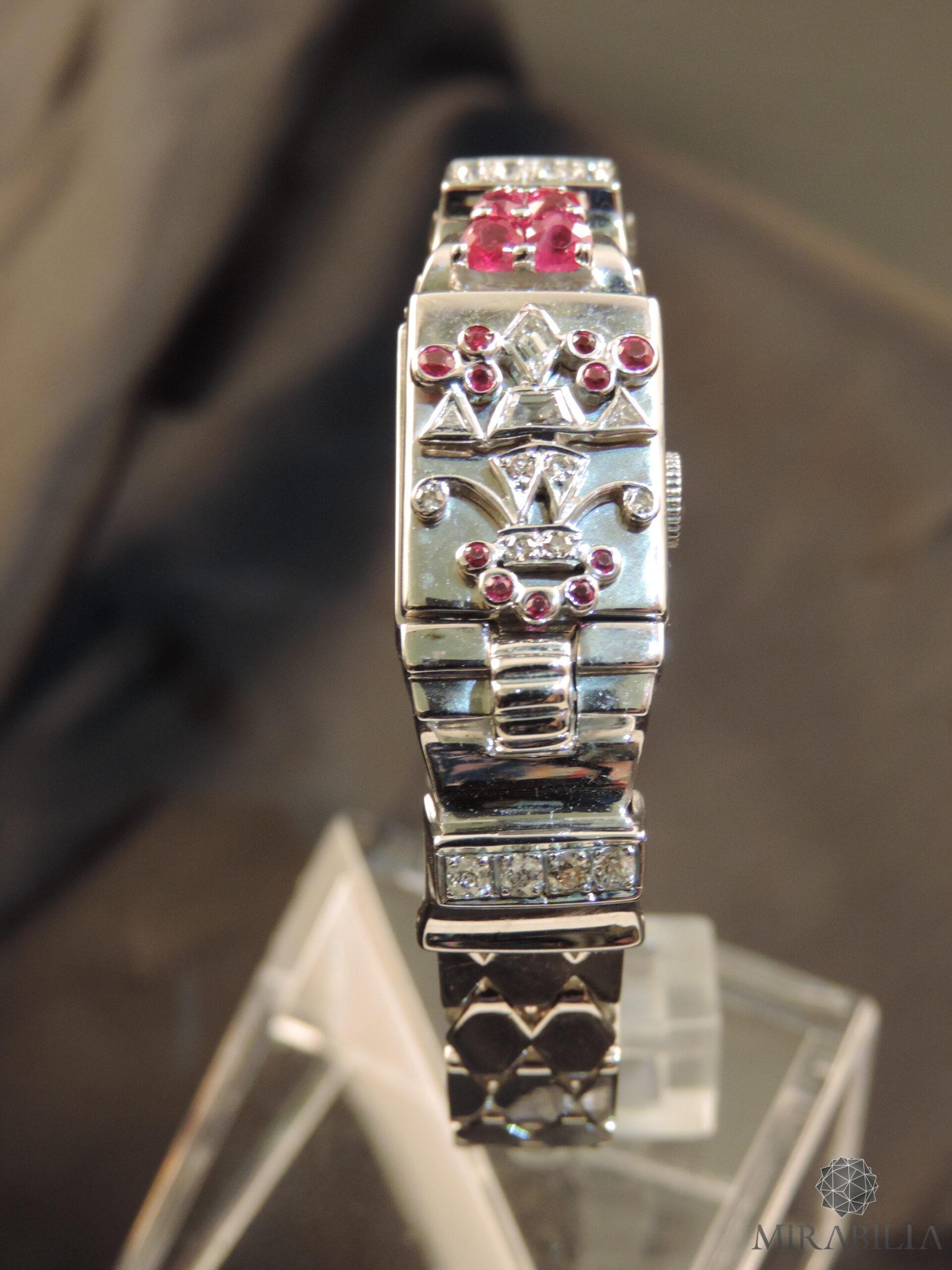 Orologio gioiello Lo Ros in oro bianco, rubini e diamanti Art Déco (Fronte)