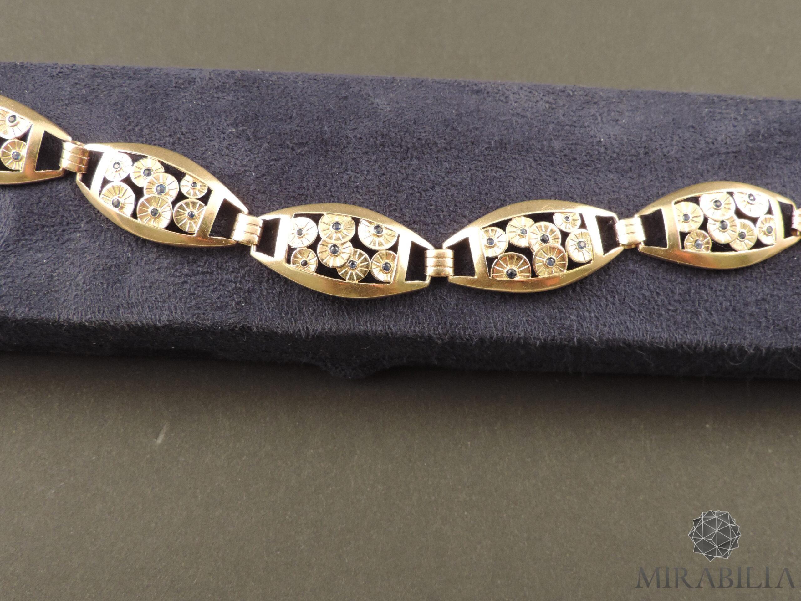 Bracciale Art Déco in oro, argento e zaffiri (dettaglio)