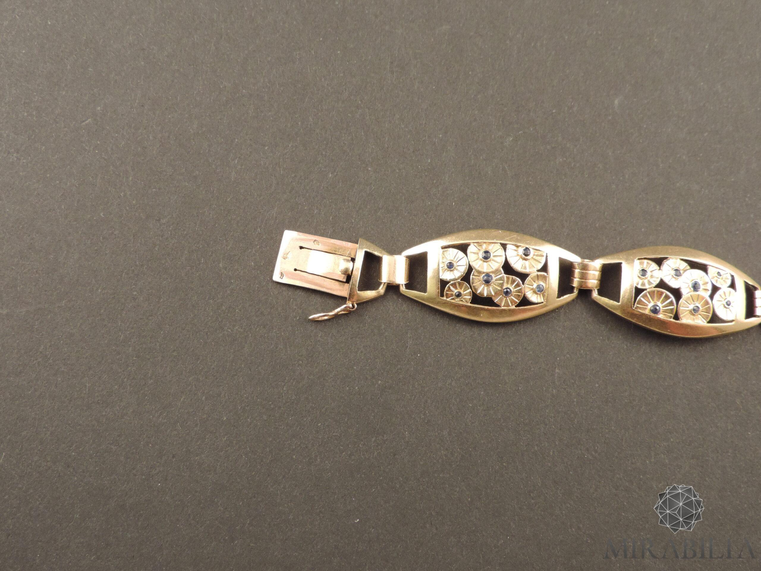 Bracciale Art Déco in oro, argento e zaffiri (dettaglio gancio 2)