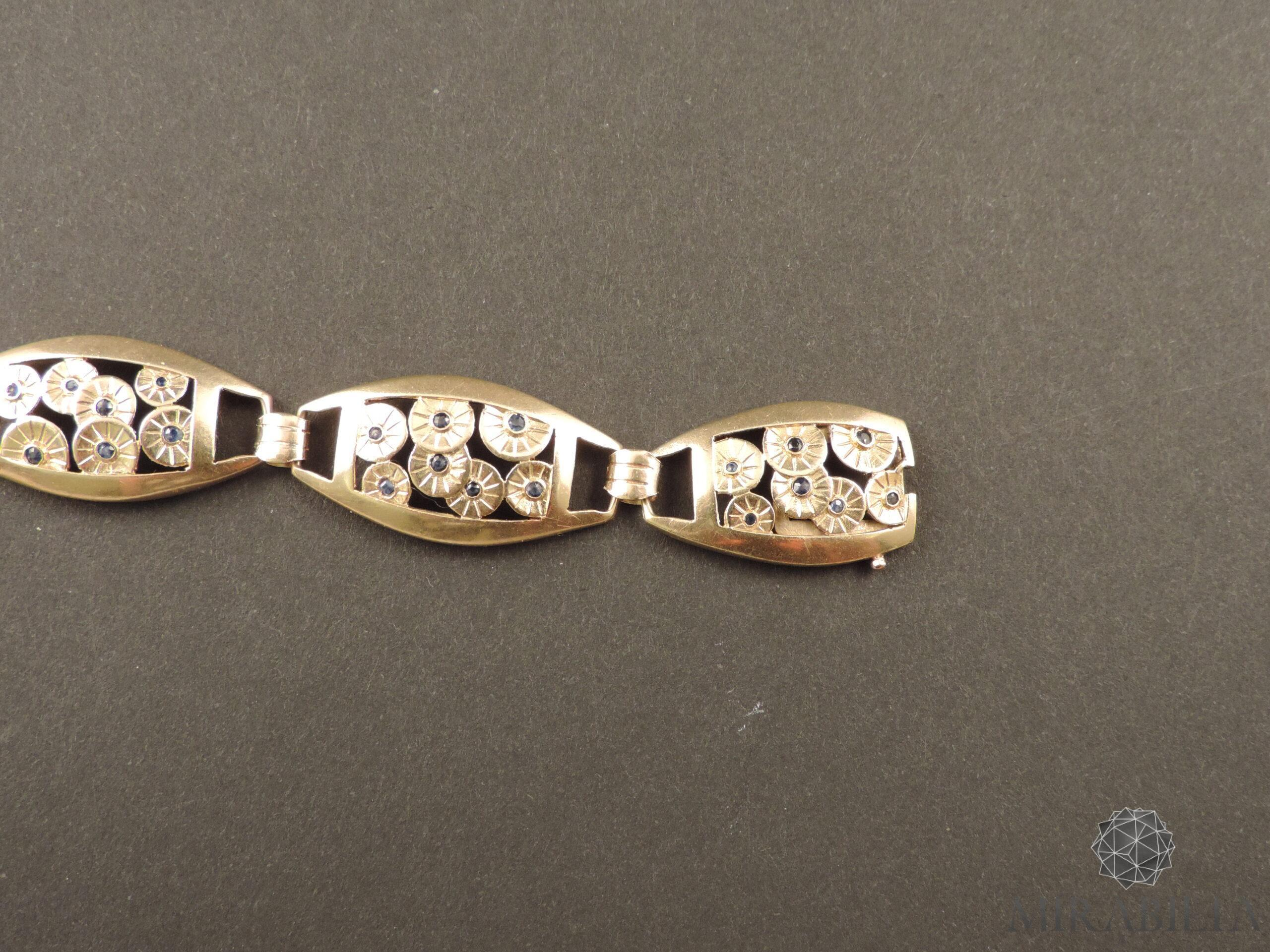 Bracciale Art Déco in oro, argento e zaffiri (dettaglio retro gancio)