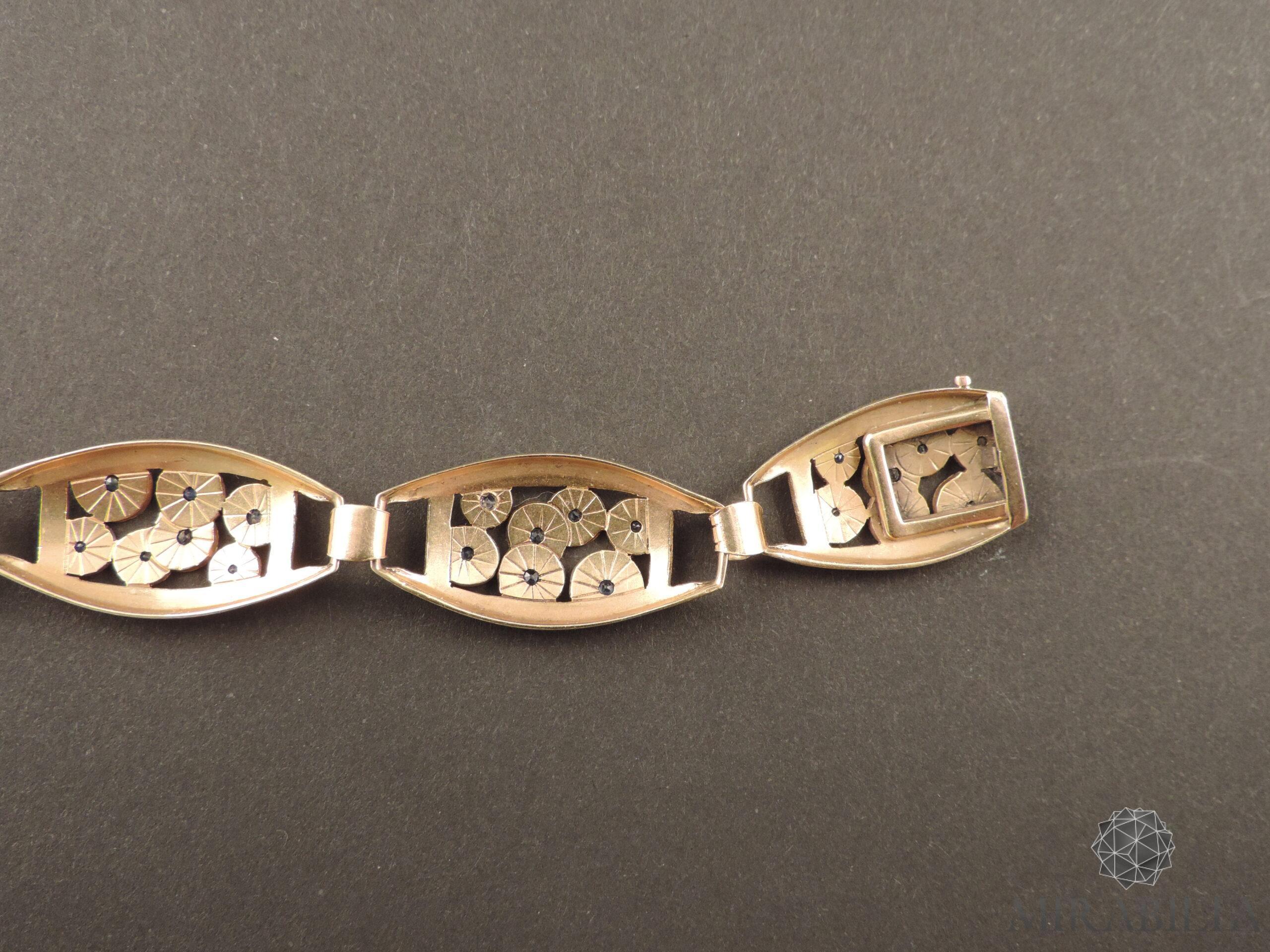 Bracciale Art Déco in oro, argento e zaffiri (dettaglio retro)