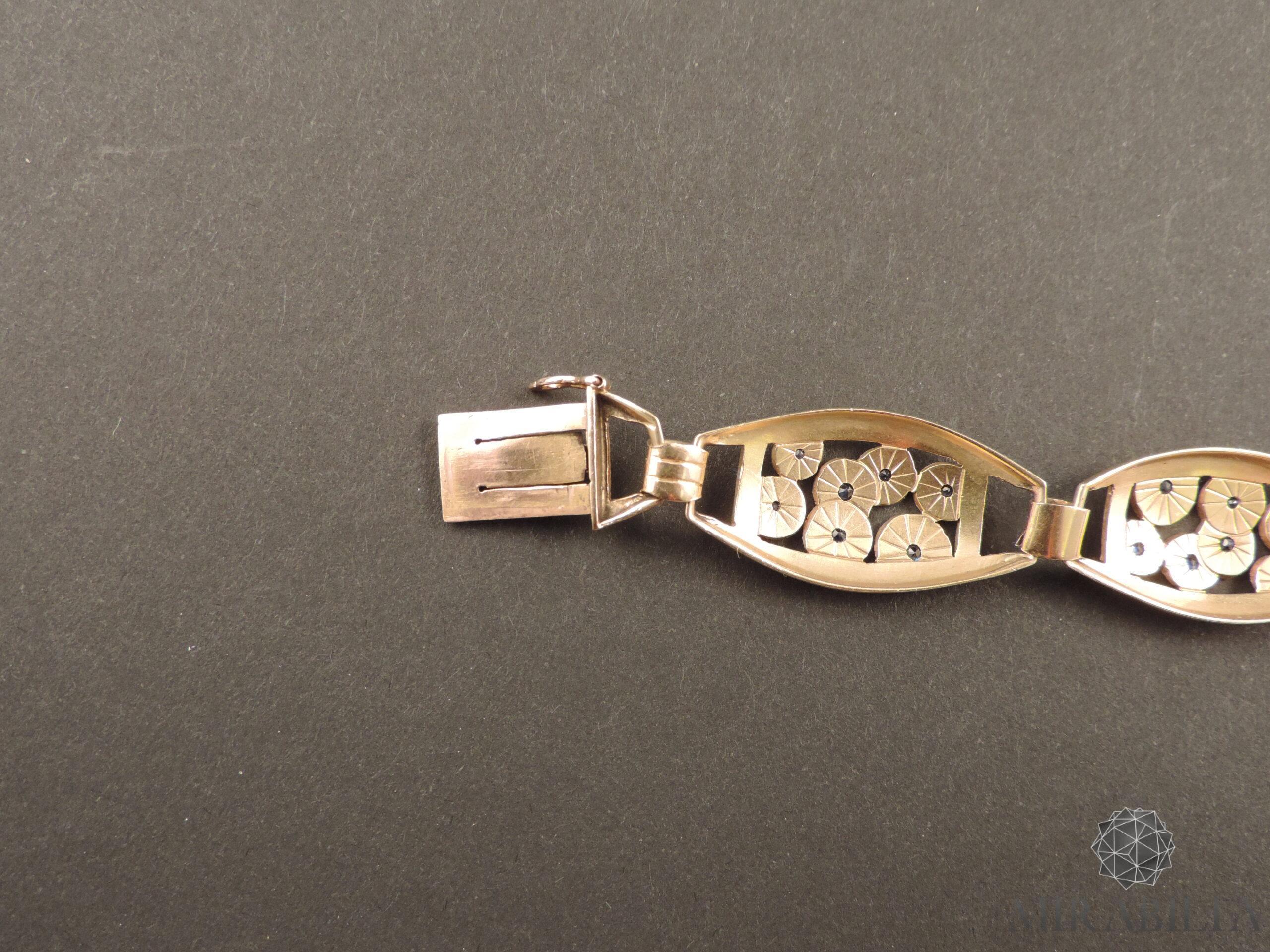 Bracciale Art Déco in oro, argento e zaffiri (dettaglio gancio)