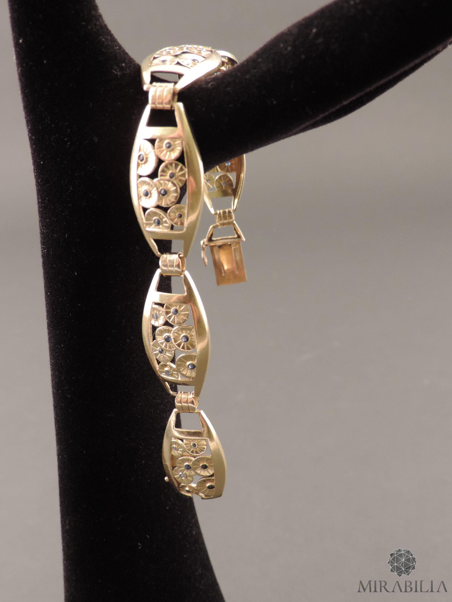 Bracciale Art Déco in oro, argento e zaffiri (dettaglio zaffiri)