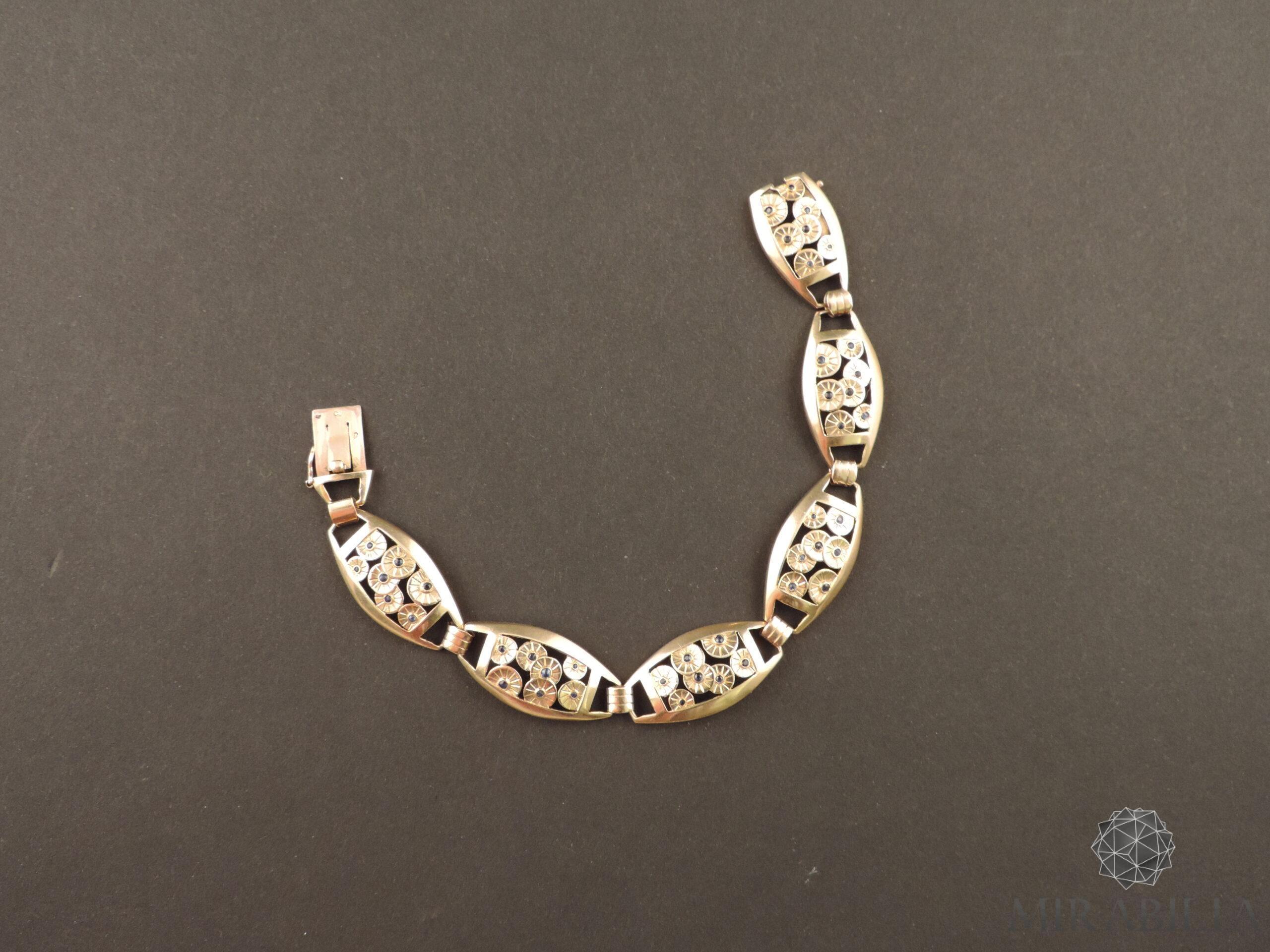Bracciale Art Déco in oro, argento e zaffiri (dettagli)