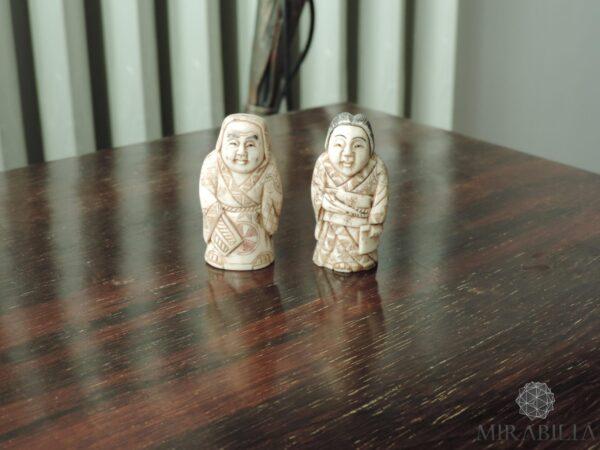 Coppia Netsuké Katabori giapponesi in osso (fronte)