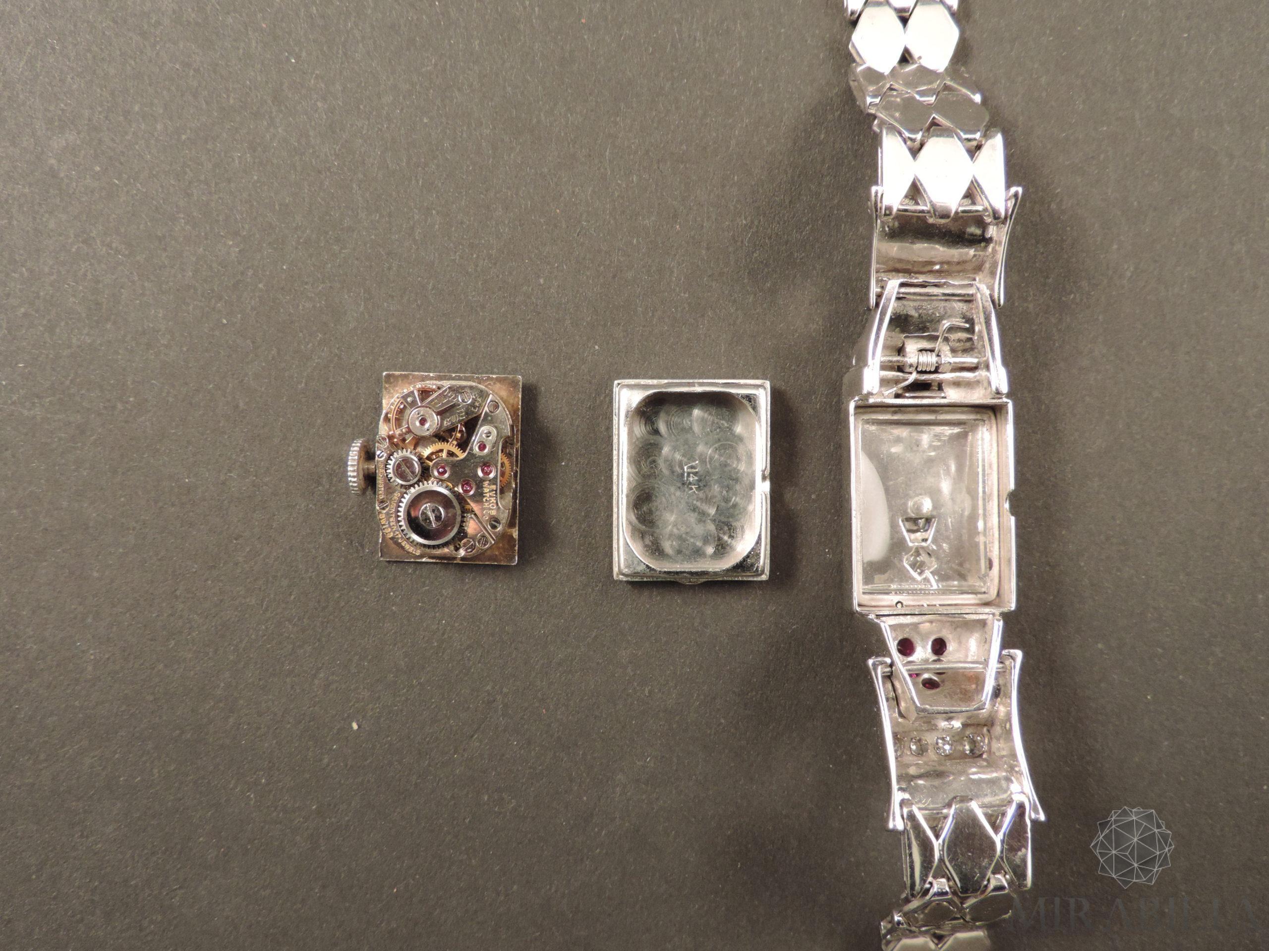 Orologio gioiello Lo Ros in oro bianco, rubini e diamanti Art Déco (Interno)